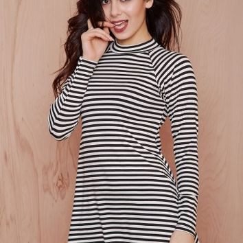 Line Up Striped Turtle Neck Swing Dress | LASULA