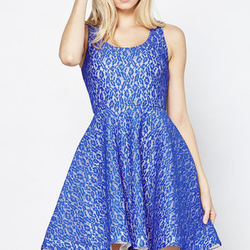 Get Lacy Overlay Fit and Flare Dress