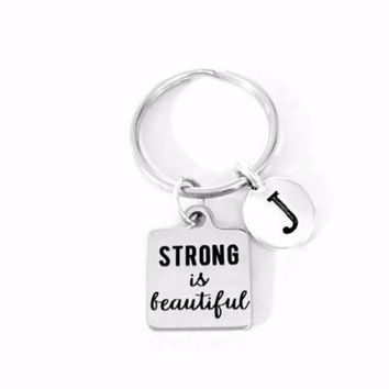 Strong Is Beautiful Initial Inspirational Cancer Survivor Warrior Gift Keychain