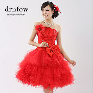 2015 New Arrival Fashion Lady Ball Gown Prom Dress Short with Bow Sequined Red Puff Sleeveless Women Formal Prom Dress