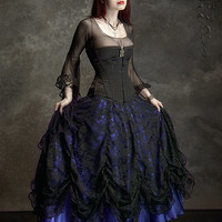 Cordelia Layered Long Bustle Skirt in Satin and Lace - Custom Elegant Gothic Clothing and Dark Romantic Couture