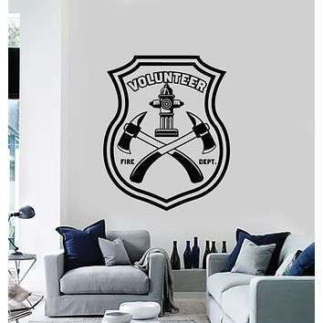 Vinyl Wall Decal Fire Dept Volunteer Firefighting Axes Rescue Team Stickers Mural (g714)