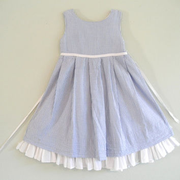 Vintage Girls Dress Blue and White Ralph Lauren Dresses Childrens Gently Used Clothing Nautical Size 4