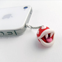 Piranha Plant Earphone Plug Dust Plug, Cellphone Accessories, 3.5mm, Nintendo Super Mario, Polymer Clay, available with Charm Strap