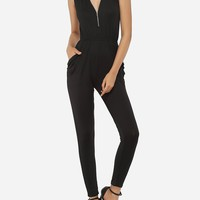 Casual Pockets Zips Dacron Plain Jumpsuits