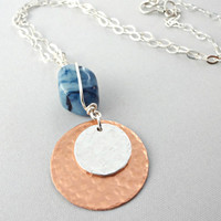 Copper and Sterling Silver Chain Necklace, Copper Pendant Necklace, Metalwork Jewelry