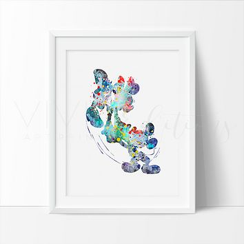 Mickey & Minnie Mouse 2 Watercolor Art Print