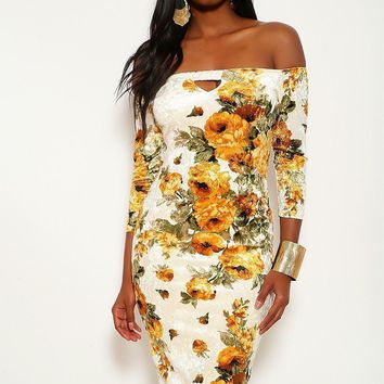 Crushed Velvet Floral Midi Dress With 3/4 Sleeves