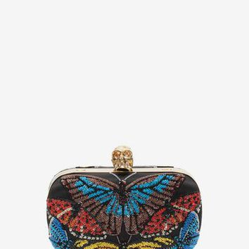 Beaded Butterfly Embroidered Classic Chain Clutch | Alexander McQueen