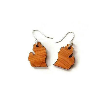 Michigan earrings | wood earrings |  united states | souvenir