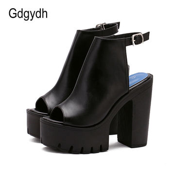Gdgydh Hot Sale European Women Summer Shoes Slingbacks High Heels Sandals Platform Causel Shoes for Party 2017 New Size 35-40