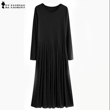 Vestido Feminios 2016 Autumn 5XL Plus Size Long Dresses With Sashes Pleated High Stretch Solid Colors Casual Maxi Dress D63704R