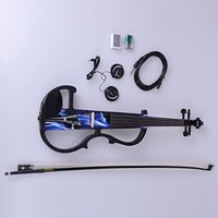 4/4 Electric-acoustic Violin with Case and Accessories for Adults Blue and Black