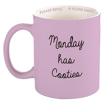 Monday Has Cooties Ceramic Mug in Lilac