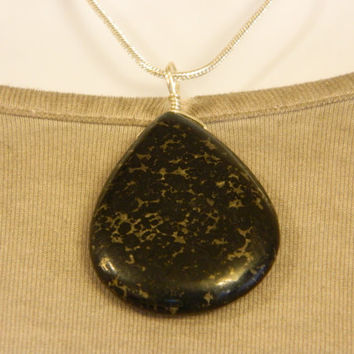 115ct. Black Metallic Stone, Semi Precious, Agate, Pendant, Necklace, Teardrop, Natural Stone, 125-15