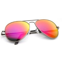 Premium Classic Metal Frame Polarzied Color Mirror Lens Aviator Sunglasses