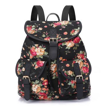 Sansarya New 2017 Flower Print Canvas Teen Backpack Vintage Shcool Bags Bagpack Women Rucksack For Girls Female Drawstring Bag
