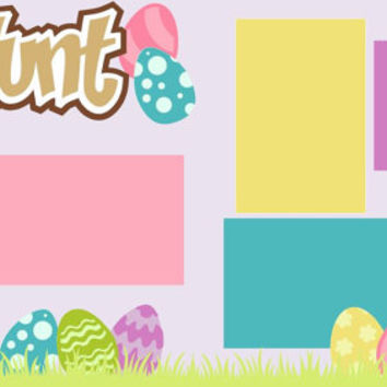 Scrapbook Page Kit or Premade Layout 12X12 2-Page Easter-Egg Hunt Girl