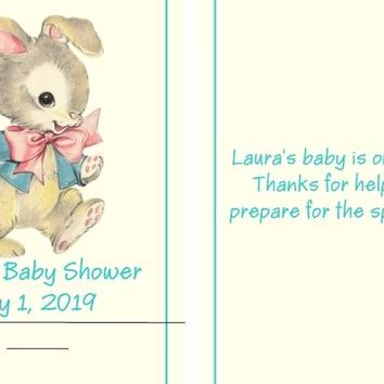 Vintage Bunny Baby Shower Nail File Favors