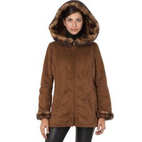 Jessie G. Women`s Faux Shearling Hooded Parka Coat