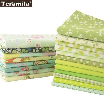 Teramila Cotton Fabric 20 Different Green Series Twill Textile Quilting Patchwork Charm Packs Meter Sewing Clothe Bedding
