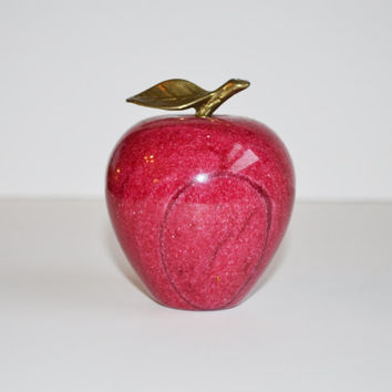 Vintage Marble Apple Paperweight Red Marble Apple Marble Fruit with Brass Accents Fruit Boxes