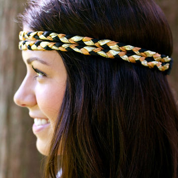 Black and Gold Double Braided Hipster Headband