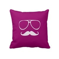 Glasses and Mustache (Moustache) Throw Pillows