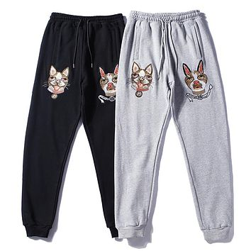 GUCCI Woman Men Fashion Embroidery Pants Trousers Sweatpants