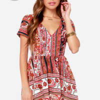 LULUS Exclusive Neapolitan Festival Brown Print Dress