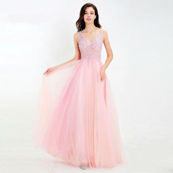 Luxury Pink Evening Dresses Long Sexy V-neck See-through Beading A-line Tulle Prom Party Gowns