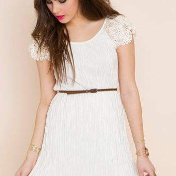 Pleated Crochet Dress in  Clothes Dresses at Nasty Gal