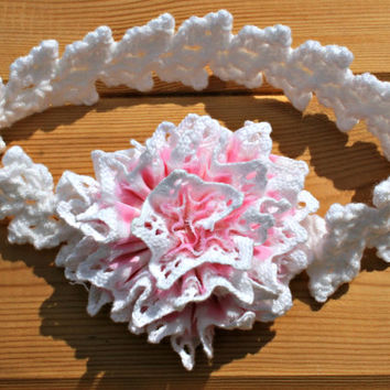 "Headband  Baby crochet headband 16"" White crochet headband Pink gingham & cotton lace shabby chic handmade fabric flower baby gifts 6-12 mth"