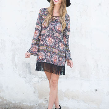 Autumn Amber Fringe Dress/Tunic