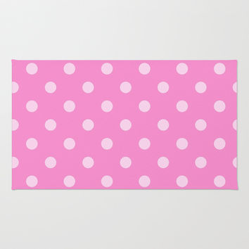 Pink Polka Dots Area & Throw Rug by KCavender Designs