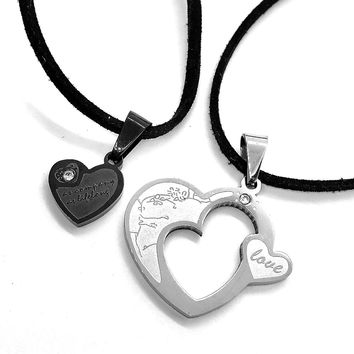 ON SALE - Love Within Puzzle Heart Pendant Necklace Set