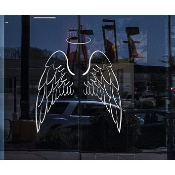 Glass and Window Vinyl Wall Decal Angel Wings Bedroom Decoration Stickers Unique Gift (ig4107w)