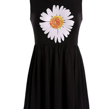 Black Daisy Print Sleeveless Sheath A-Line Pleated Mini Dress