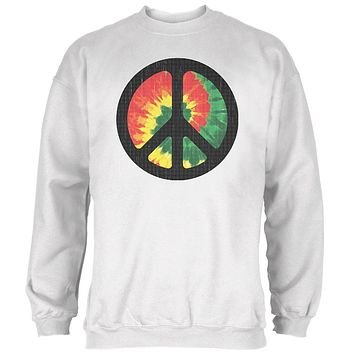 Rasta Tie Dye Peace Sign Distressed Halftone Mens Sweatshirt