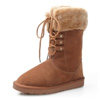 Rabbit Fur Trim Brown Lace Up Mid Calf Boots
