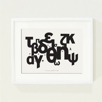 It's all greek to me poster - A graphic print with Black and white greek alphabet, abstract - Size A4