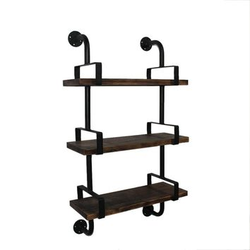 Rustic Industrial Iron Pipe Bookcase Storage