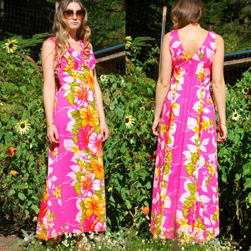 60S 70s Hawaiian Dress, Tiki Hawaiian Maxi Dress, Pleated Empire Waist Dress, Orange Pink Floral Cotton Dress, Hawaii Resort Shops, MEDIUM