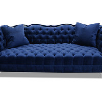 "Gigi 90"" Velvet Tufted Sofa, Blue, Sofas & Loveseats"
