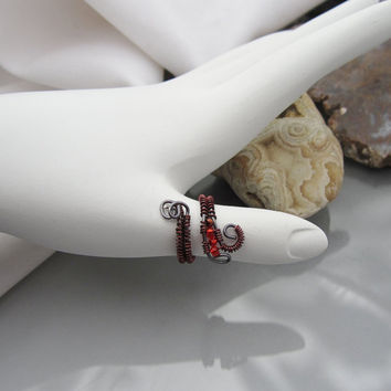 Upper Knuckle or Toe Ring, Adjustable in Copper Colored Wire with Red Seed Beads