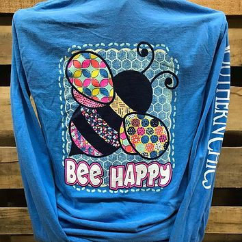 Southern Chics Bee Happy Comfort Colors Long Sleeves Girlie Bright T Shirt