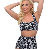 Vintage Style Pin Up Black & White Hawaiian Floral High Waisted Kauai Swim Bottom