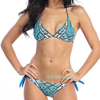 Pretty & Free Hippie Teal Tribal String Bikini