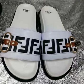 White FENDI Leather Slides Slipper Sandals Flats Shoes