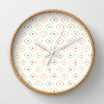 Southwestern Ikat on White Wall Clock by CandyBoxDigital